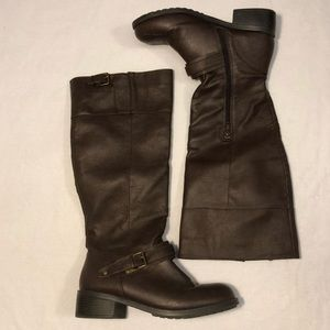 Tall brown boots size 8.5 buckle details rampage